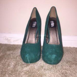 Amber Teal Green/Gold Stilettos